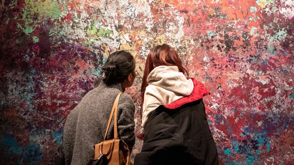 Yaxin Luo (right) and her mom, Liyan, inspect art by Andrew Jensfotter at the Museum of Contemporary Art, Feb. 15, 2019. (Kevin J. Beaty/Denverite)