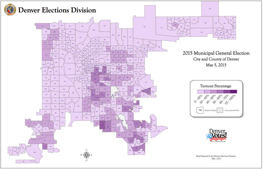 Voter turnout in the City and County of Denver during the 2015 municipal election. Courtesy of Denver Elections Division.
