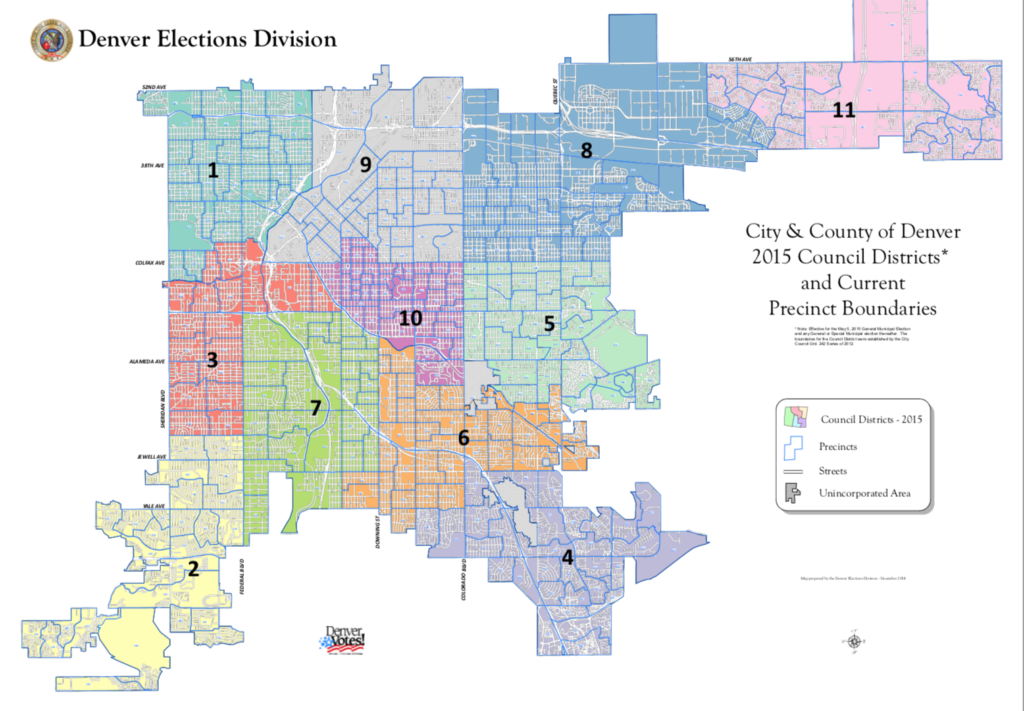 A map of Denver featuring all 11 City Council District boundaries. Courtesy of Denver Elections Division
