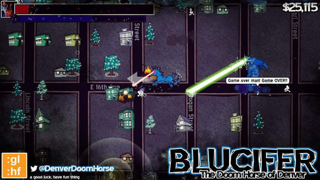 A screen shot of Blucifer: The Doom Horse of Denver.