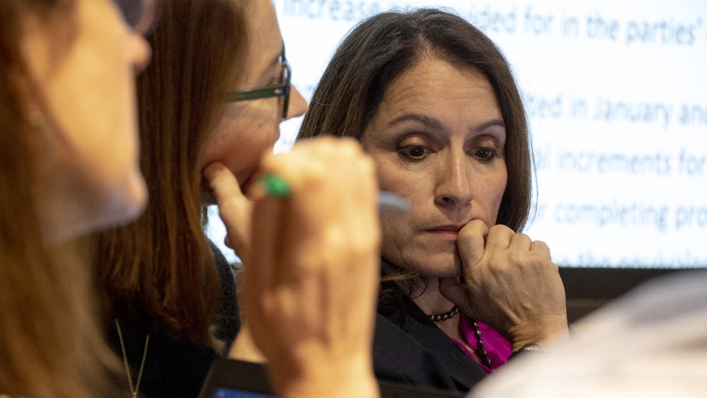 Denver Public Schools Superintendant Susana Cordova negotiates with Denver's teachers union at the Denver Public Library, Feb. 12, 2019. (Kevin J. Beaty/Denverite)