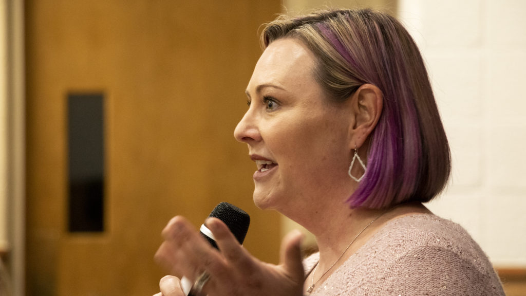 City Council District 5 candidate Amanda Sawyer speaks during a forum at Christ Church United Methodist, March 5, 2019. (Kevin J. Beaty/Denverite)