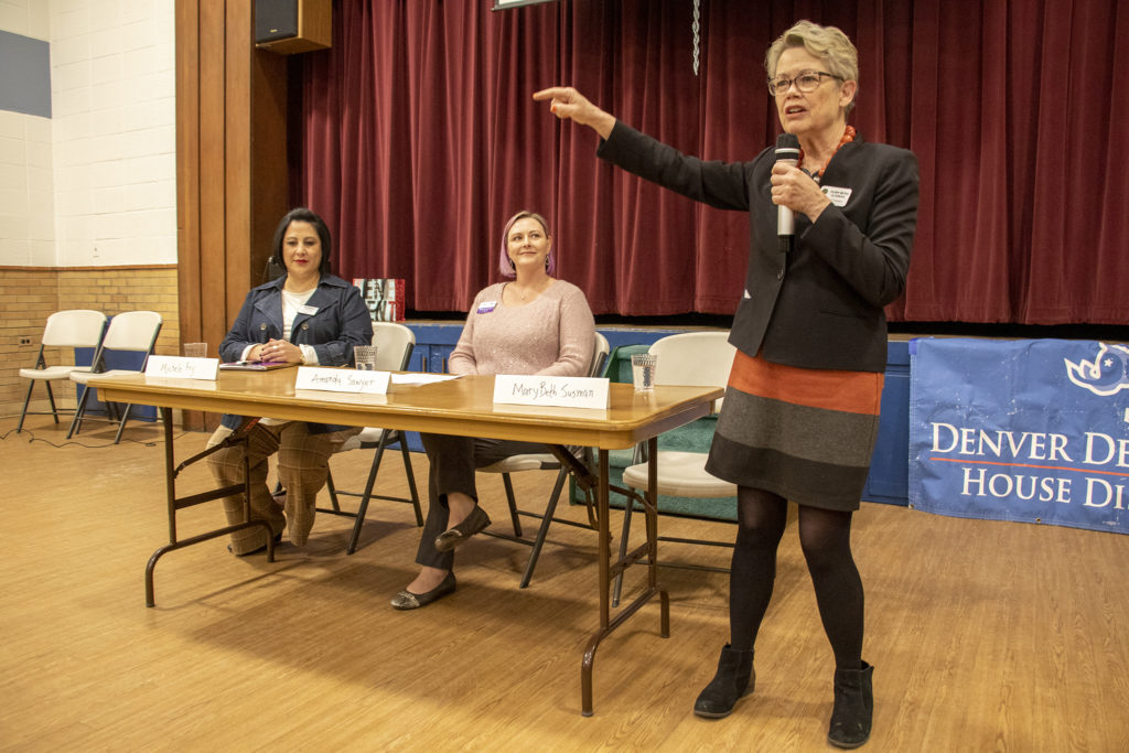 District 5 City Councilwoman Mary Beth Susman speaks during a candidate forum at Christ Church United Methodist, March 5, 2019. (Kevin J. Beaty/Denverite)