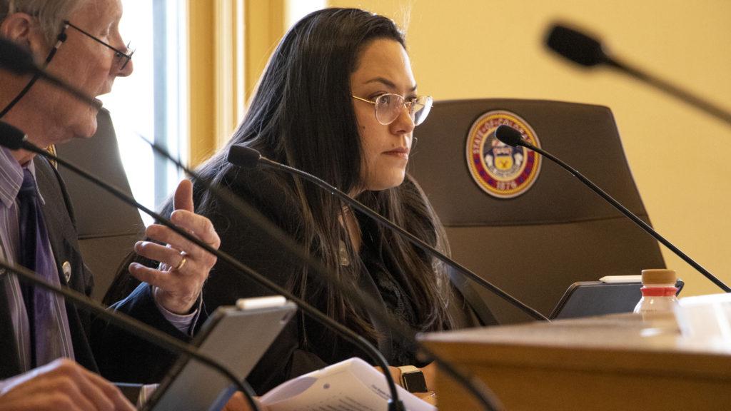Sen. Julie Gonzales sits in a Finance Committee meeting, March 5, 2019. (Kevin J. Beaty/Denverite)