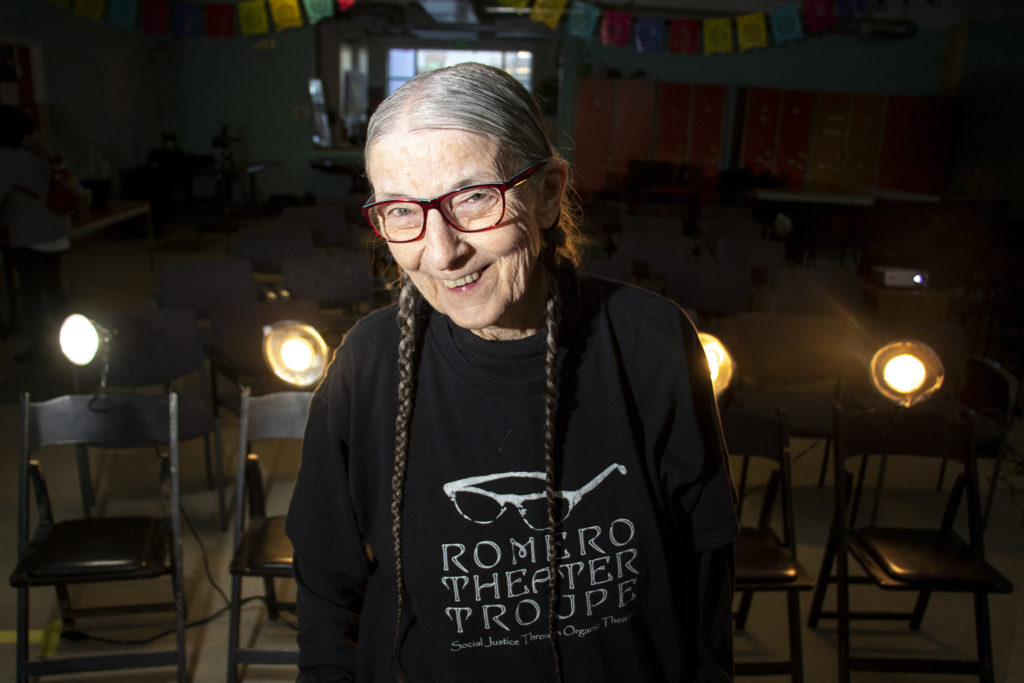 Sue Gomez poses for a portrait inside the Mi Casa Resource Center before she performs with the Romero Theater Troupe, March 7, 2019. (Kevin J. Beaty/Denverite)