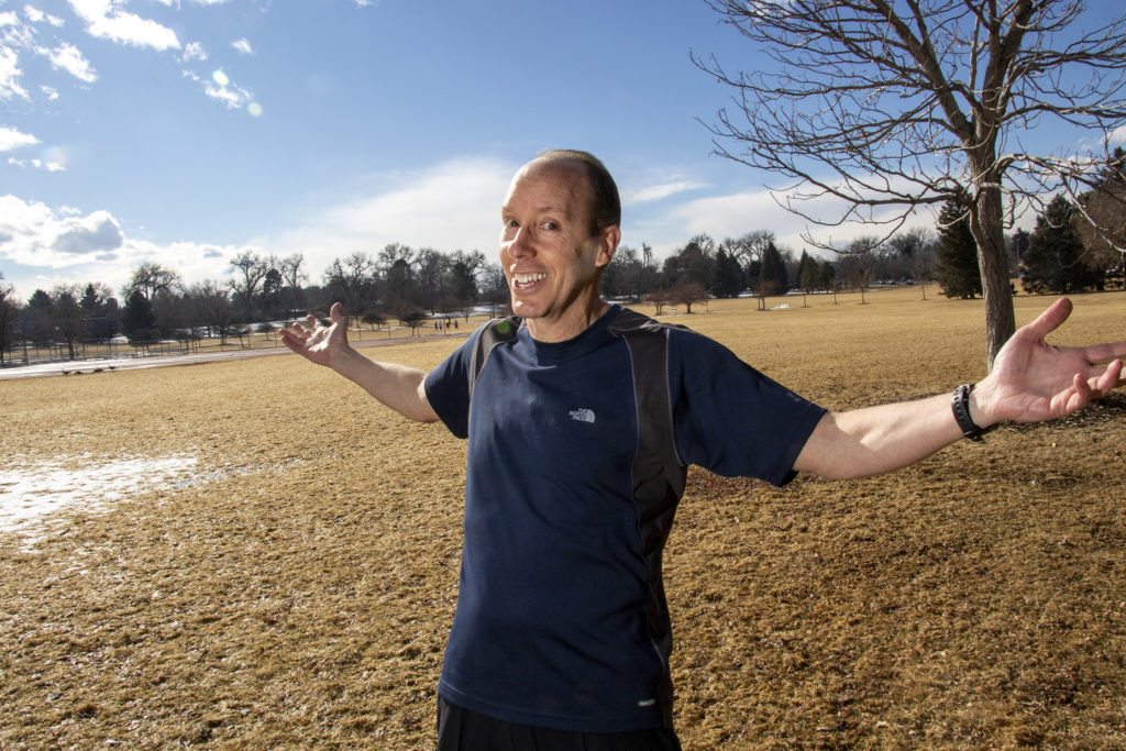 Ryk McDorman poses for a portrait at his favorite place in Denver: James A. Bible Park in the Hampden neighborhood, March 7, 2019. (Kevin J. Beaty/Denverite)