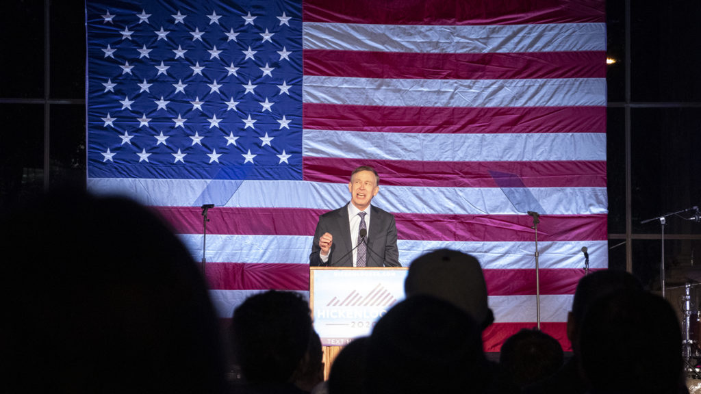 Former Governor John Hickenlooper addresses supporters for his run at the presidency during a rally at Civic Center Park, March 7, 2019. (Kevin J. Beaty/Denverite)