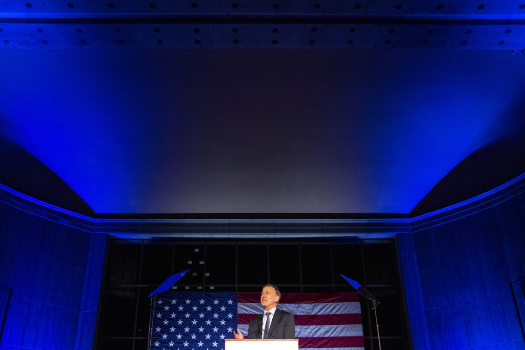 Former Governor John Hickenlooper addresses supporters during a presidential campaign rally at Civic Center Park, March 7, 2019. (Kevin J. Beaty/Denverite)