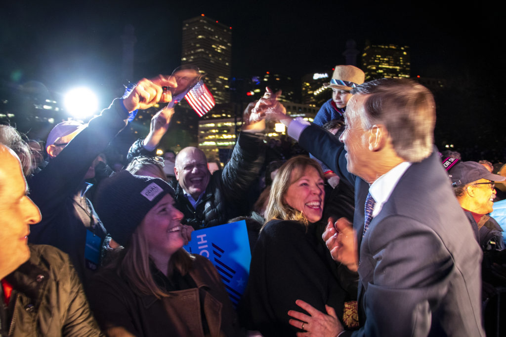 John Hickenlooper greets supporters after a presidential campaign rally at Civic Center Park, March 7, 2019. (Kevin J. Beaty/Denverite)