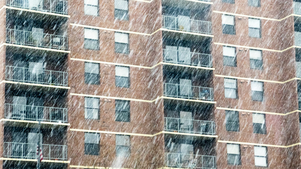 "Denver apartments under the ""bomb cyclone"" blizzard, March 13, 2019. (Kevin J. Beaty/Denverite)"