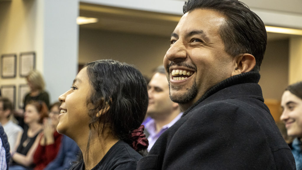 City Councilman Paul López claps as Denver Elections holds a lottery to determine candidate order on the ballot for Clerk and Recorder in the upcoming municipal election, March 14, 2019. (Kevin J. Beaty/Denverite)