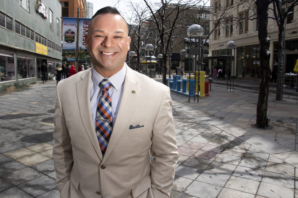 City Council District 9 candidate Jonathan Woodley poses for a portrait on the 16th Street Mall, March 14, 2019. (Kevin J. Beaty/Denverite)