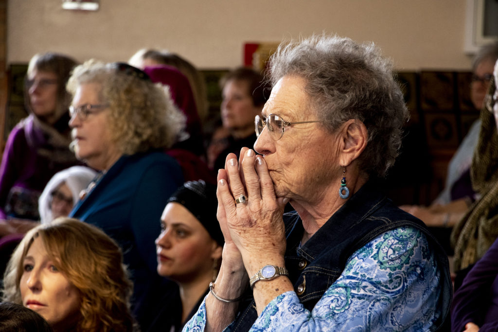 Jean Karner attends a vigil for the victims of a massacre at a Christchurch, New Zealand, mosque at the Colorado Muslim Society, March 16, 2019. (Kevin J. Beaty/Denverite)