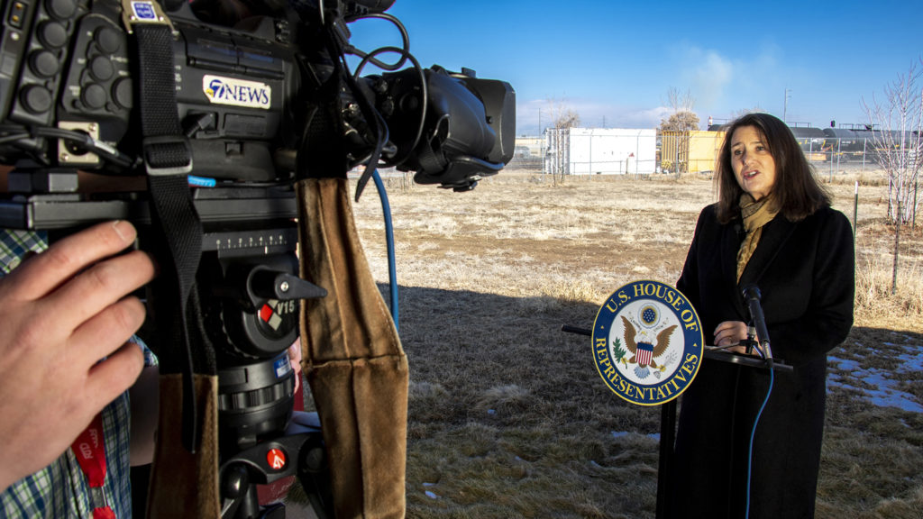 U.S. Rep. Diana DeGette speaks to press at Focus Points in Elyria Swansea about a measure she'll introduce to limit releases of hydrogen cyanide, March 19, 2019. (Kevin J. Beaty/Denverite)