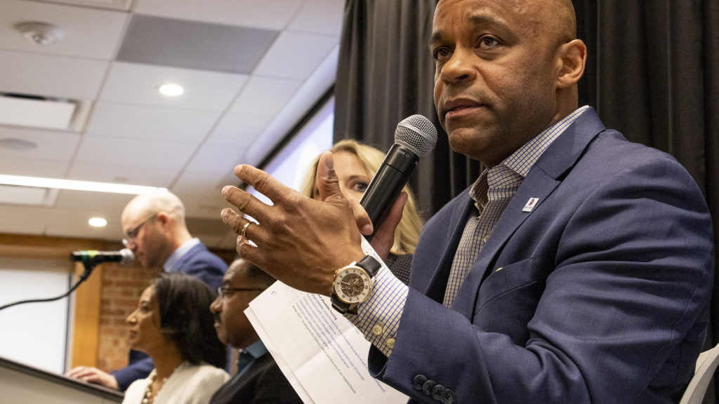 Mayor Michael Hancock speaks during a mayoral candidate forum on environmental policy at the Alliance Center downtown, March 21, 2019. (Kevin J. Beaty/Denverite)