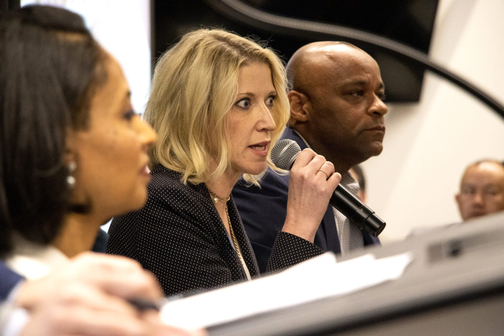 Jamie Giellis speaks in a mayoral candidate forum on environmental policy at the Alliance Center downtown, March 21, 2019. (Kevin J. Beaty/Denverite)