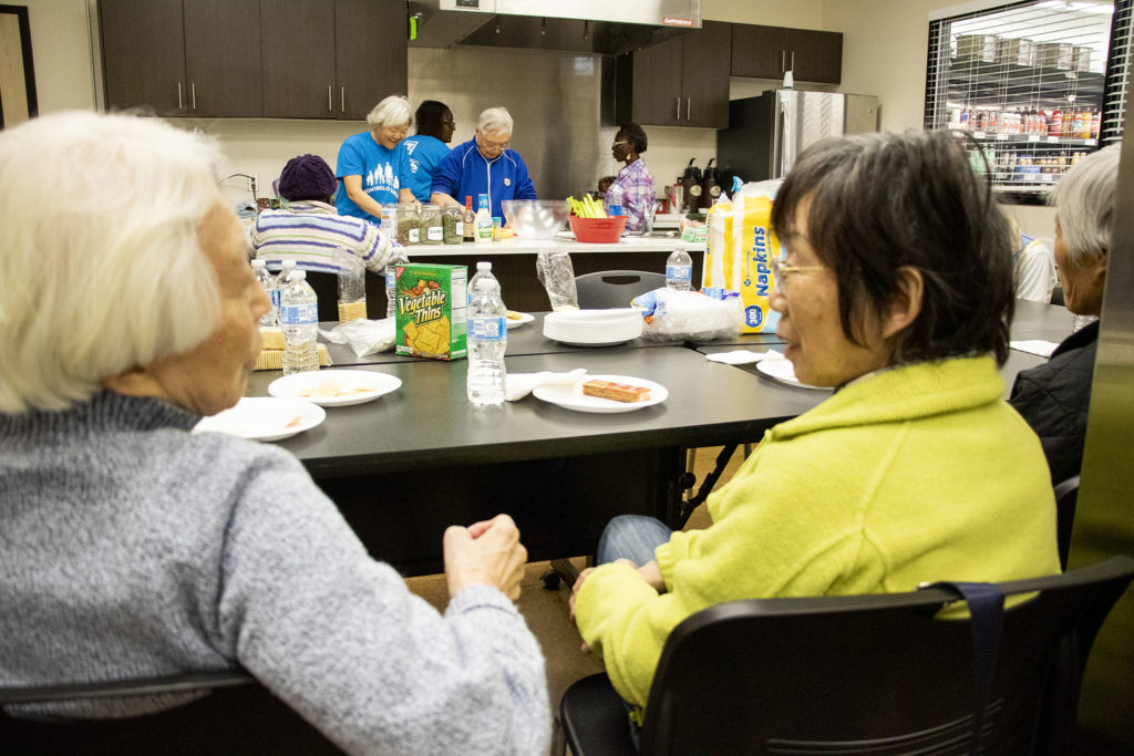A healthy cooking class in the Montbello community room in the neighborhood's Save A Lot food store, March 28, 2019. (Kevin J. Beaty/Denverite)