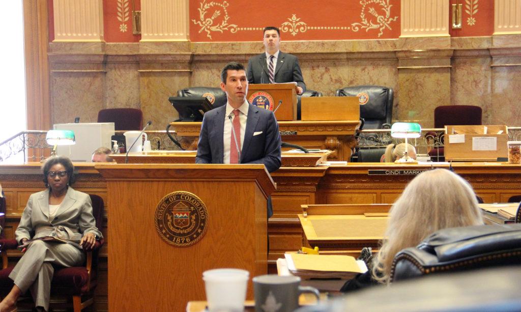 Republican state Sen. Owen Hill speaks in opposition of the red flag bill on Thursday, March 28, 2019, in Denver. (Esteban L. Hernandez/Denverite)