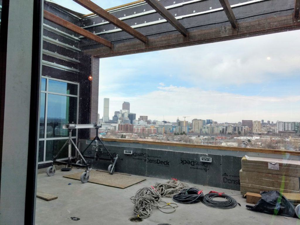 A view of downtown on March 28, 2019 from the soon-to-be completed new DHA headquarters. (Donna Bryson/Denverite)