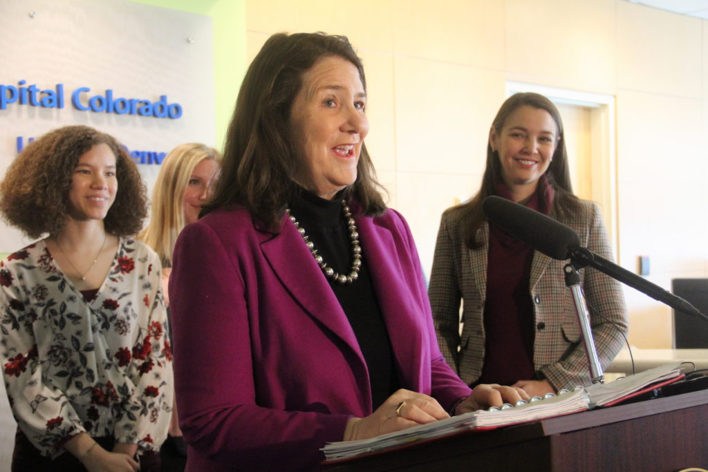 U.S. Rep. Diana DeGette of Denver speaks during a press conference at Children's Hospital Colorado in Denver on Monday, March 4, 2019, in City Park West. (Esteban L. Hernandez/Denverite)