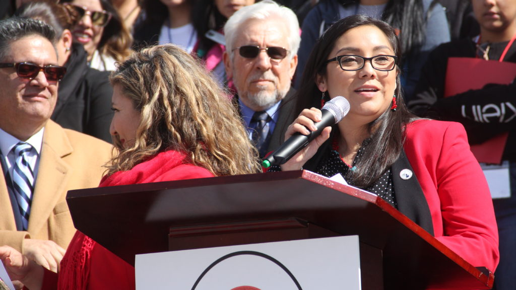 State Rep. Serena Gonzales-Gutierrez of Denver speaks during a rally for Latino/a Advocacy Day on Monday, March 11, 2019, in Denver. (Esteban L. Hernandez/Denverite)