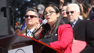 State Rep. Serena Gonzales-Gutierrez speaks during a rally for Latino/a Advocacy Day on Monday, March 11, 2019, in Denver. (Esteban L. Hernandez/Denverite)