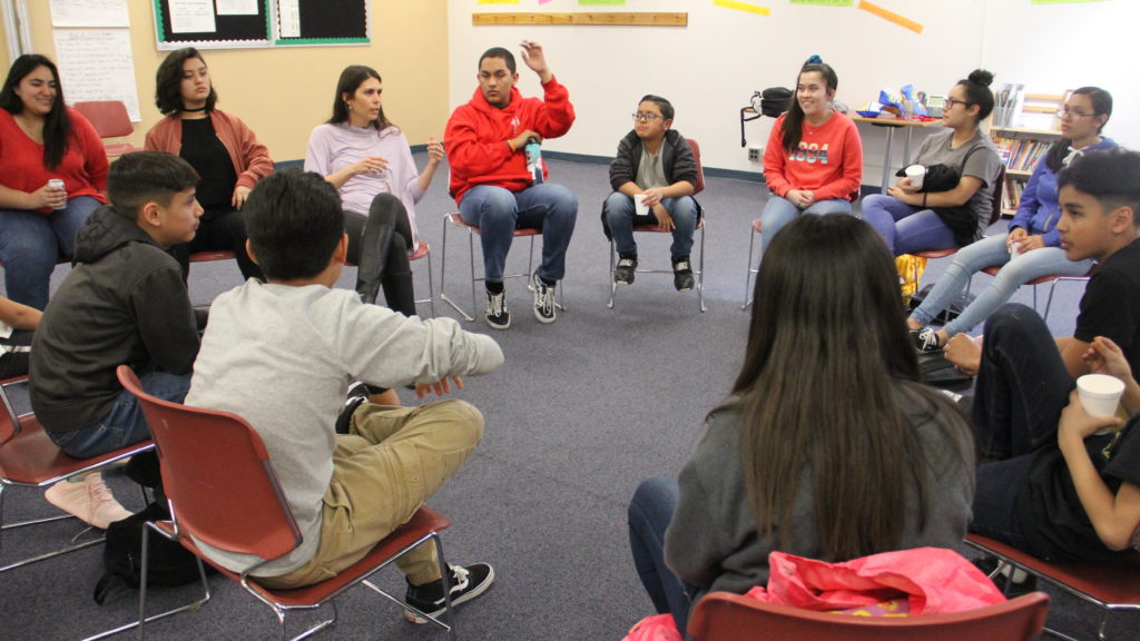 Skinner Middle School students during a SOMOS1 meeting on Wednesday, March 20, 2019, in Denver. (Esteban L. Hernandez/Denverite)