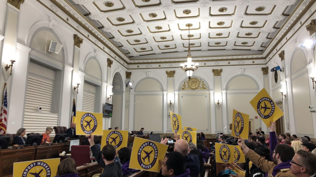 Unionized workers show their support for the $15 minimum wage for city employees. (David Sachs/Denverite)