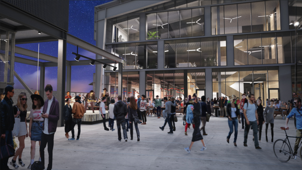 Artist's rendering of the plaza outside Mission Ballroom at the North Wynkoop Development. (Works Progress Architecture)