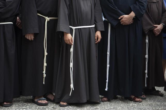 Franciscan clergymen in Jerusalem. (AP)
