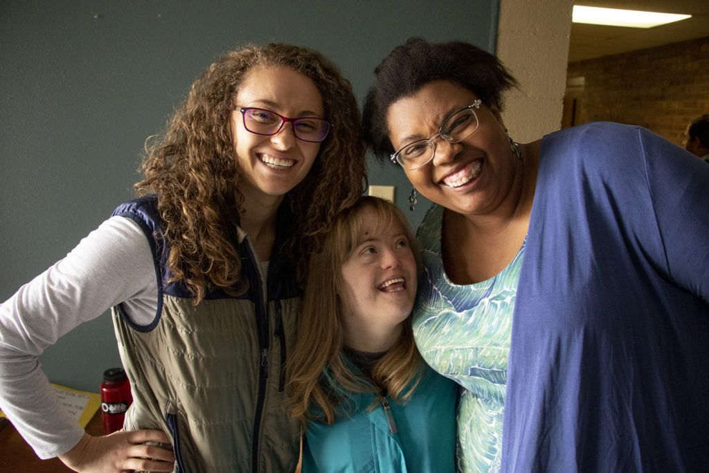 BrynBaldassari and Lexi Ziegler (left and right_) pose for a photo with Rachel. Stepping Stone at the Columbine Hills Church of the Nazarene, Littleton, April 6, 2019. (Kevin J. Beaty/Denverite)