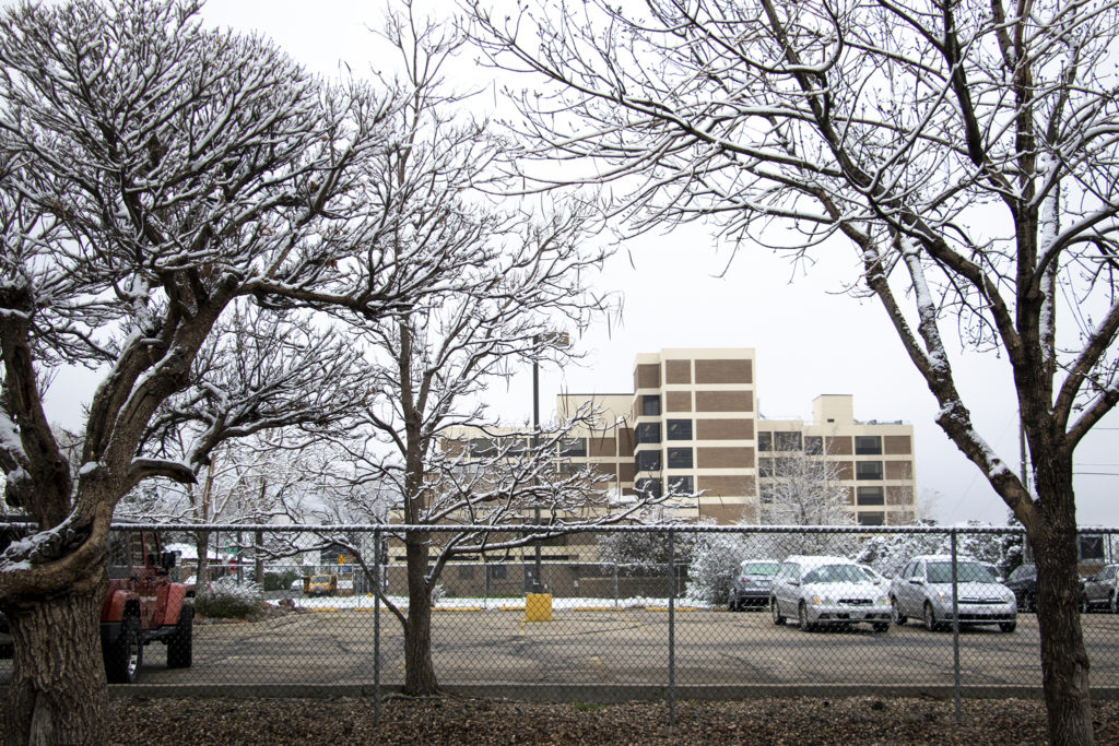 The proposed site of the 17th and Newton development project across the street from Sloan Lake, April 30, 2019. (Kevin J. Beaty/Denverite)