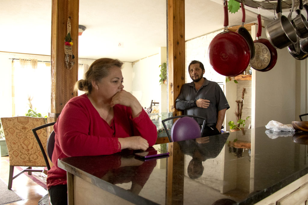 Hilda Lopez and Lalo Ramirez in their home in the Denver Meadows mobile home park in Aurora, March 31, 2019. (Kevin J. Beaty/Denverite)