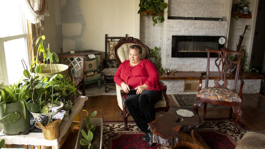 Hilda Lopez inside her home in the Denver Meadows mobile home park in Aurora, March 31, 2019. (Kevin J. Beaty/Denverite)