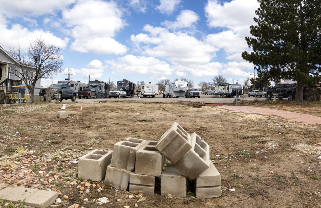 A newly vacant lot in the Denver Meadows mobile home park in Aurora, March 31, 2019. (Kevin J. Beaty/Denverite)