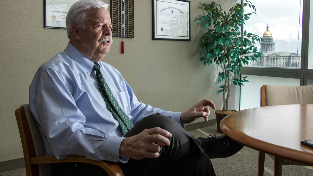 Denver City Auditor Timothy M. O'Brien speaks to a reporter in his office, April 3, 2019. (Kevin J. Beaty/Denverite)