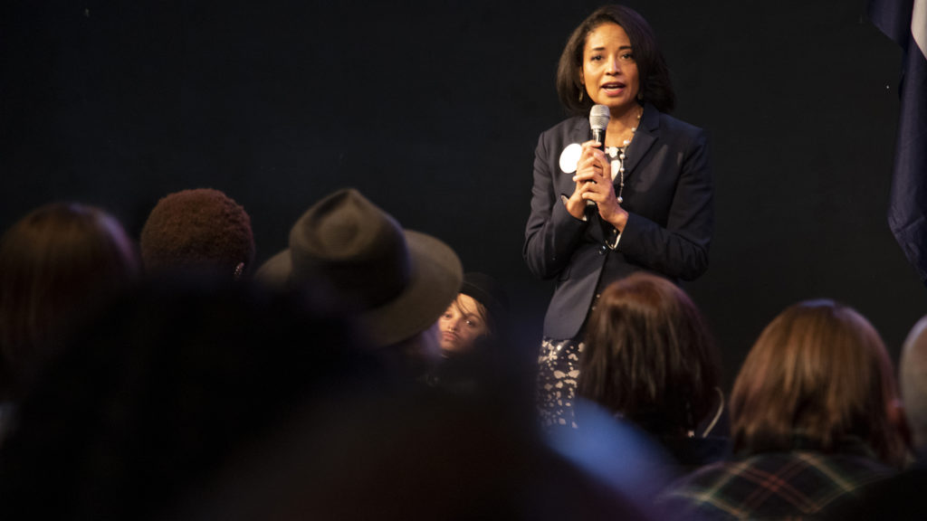 Lisa Calderón speaks during a mayoral candidate forum on LGBTQ issues at the Exdo event center, RiNo, Five Points, April 4, 2019. (Kevin J. Beaty/Denverite)
