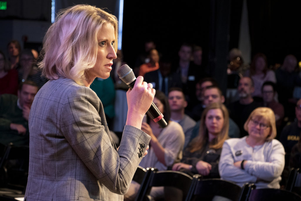 Jamie Giellis speaks during a mayoral candidate forum on LGBTQ issues at the Exdo event center, RiNo, Five Points, April 4, 2019. (Kevin J. Beaty/Denverite)