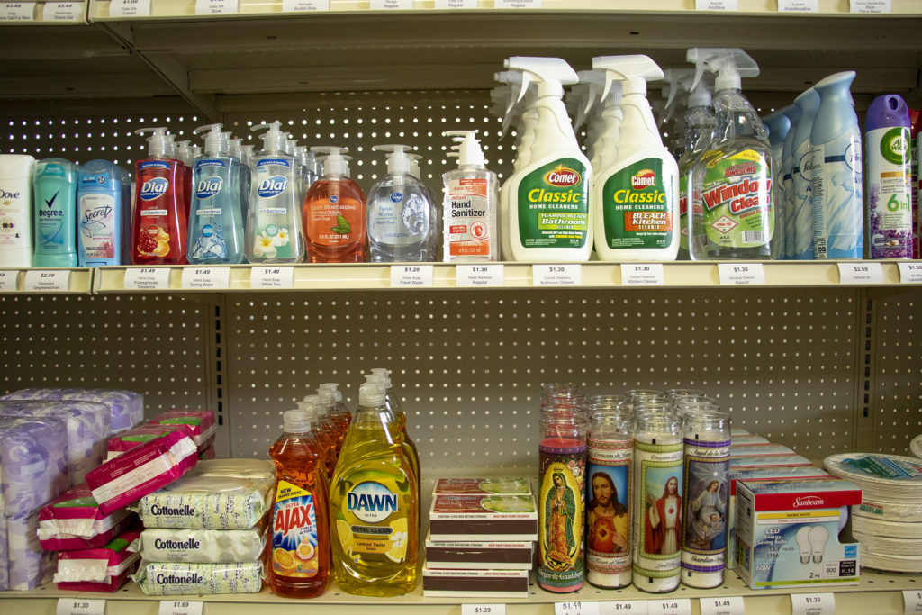 Cleaning supplies, for tables and souls, on sale at the Westwood Food Cooperative's new home on Morrison Road, Westwood, April 12, 2019. (Kevin J. Beaty/Denverite)
