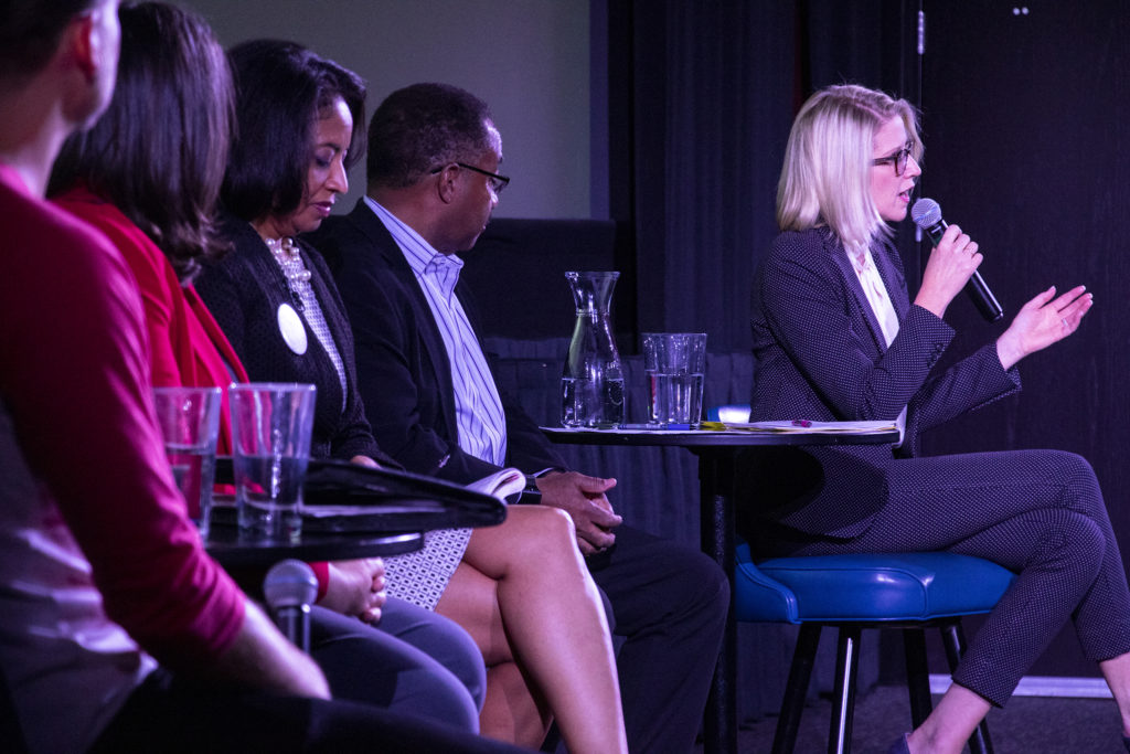 Mayoral candidates Lisa Calderón, Penfield Tate and Jamie Giellis attend a housing forum held by GoodCinema at Alamo Drafthouse Sloans Lake, April 16, 2019. (Kevin J. Beaty/Denverite)