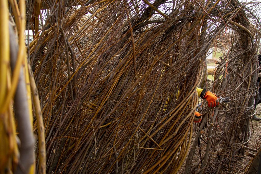 "Volunteers help assemble Patrick Dougherty's ""Stickwork"" installation at the Denver Botanic Gardens' Chatfield Farms, April 18, 2019. (Kevin J. Beaty/Denverite)"