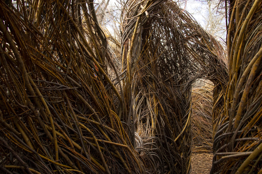 "Patrick Dougherty's ""Stickwork"" at the Denver Botanic Gardens' Chatfield Farms, April 18, 2019. (Kevin J. Beaty/Denverite)"