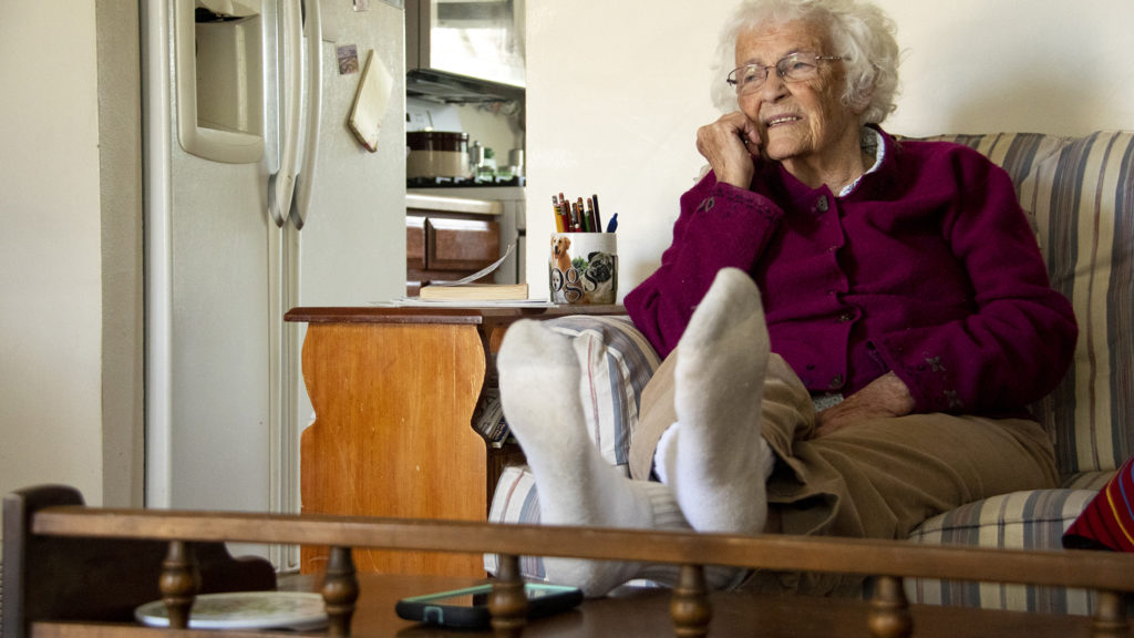 Barbara Dodge speaks to a reporter in her Westminster home about CAPABLE, a program that brings together health workers and home repair experts to help seniors age in place , April 23, 2019. (Kevin J. Beaty/Denverite)