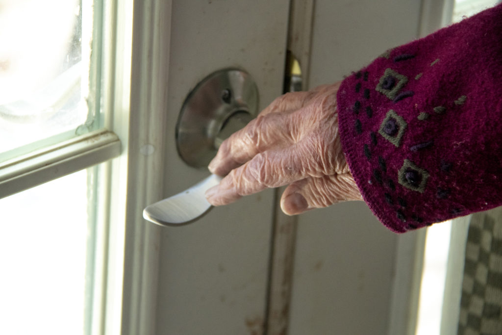 Barbara Dodge's home in Westminster sports handled doorknobs, April 23, 2019. (Kevin J. Beaty/Denverite)