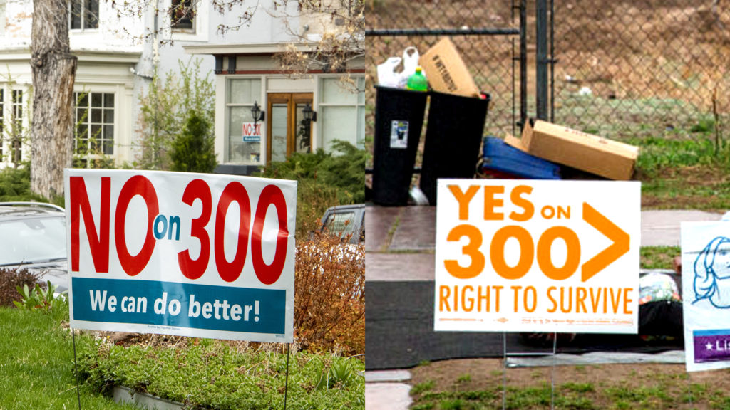 Initiative 300 election signs. (Kevin J. Beaty/Denverite and Hart Van Denberg/CPR)