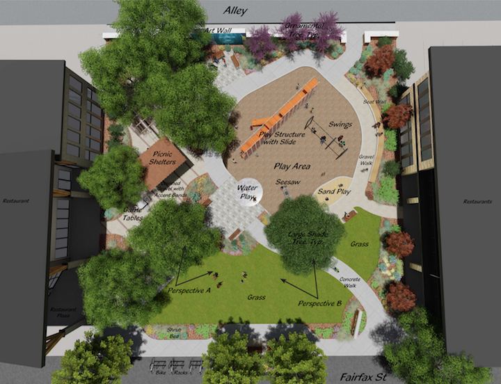 A conceptual rendering of the park coming to 29th and Fairfax in North Park Hill. (Courtesy Denver Parks and Recreation)