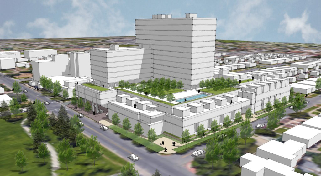 A rough outline of what the development at 17th and Newton could look like. (Courtesy Zocalo Community Development)