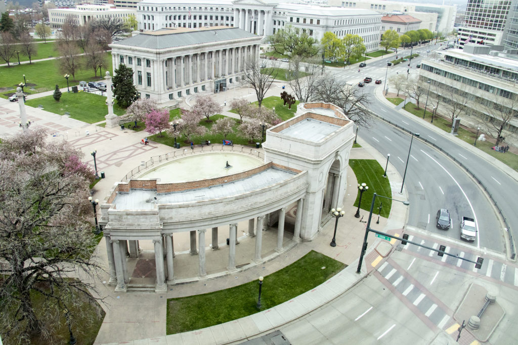 Colfax bends around Civic Center Park, April 30, 2019. (Kevin J. Beaty/Denverite)
