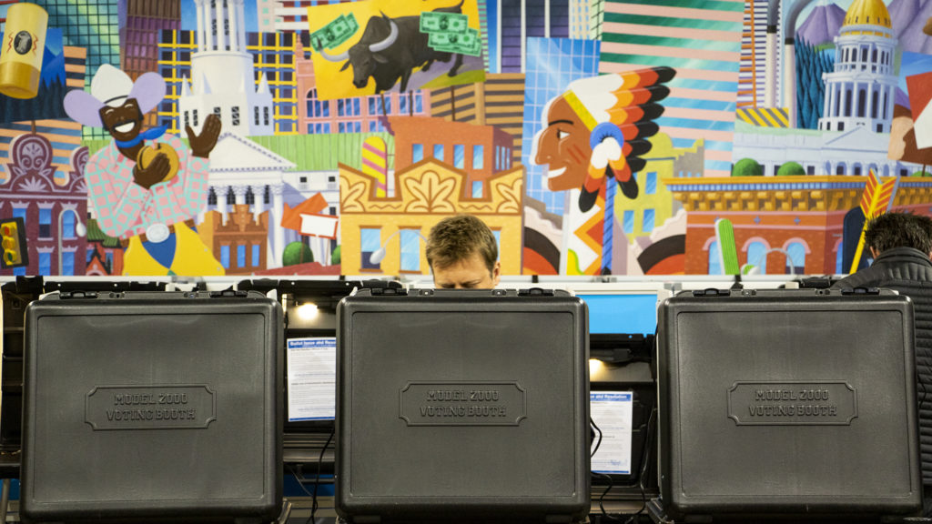 A Denverite votes at Denver Elections Division on Election Day, May 7, 2019. (Kevin J. Beaty/Denverite)