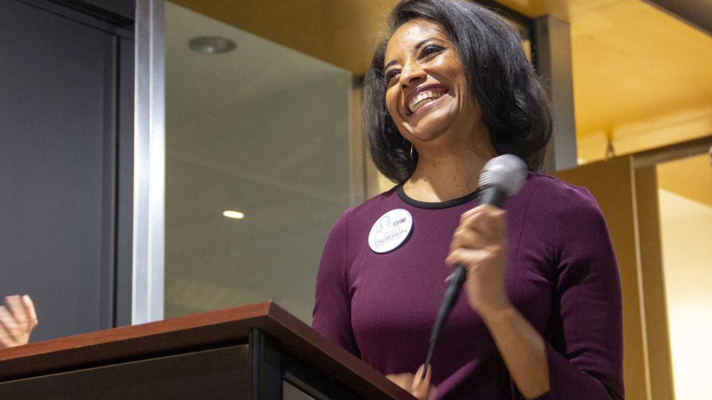 Mayoral candidate Lisa Calderón addresses supporters at her election night watch party, May 7, 2019. (Esteban L. Hernandez/Denverite)